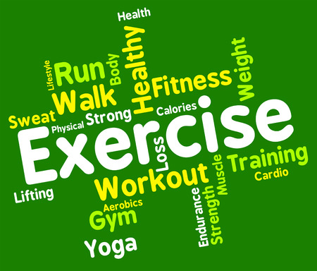 get a workout: Exercise Words Indicating Physical Activity And Training Stock Photo