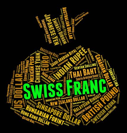 currency exchange: Swiss Franc Showing Currency Exchange And Currencies Stock Photo