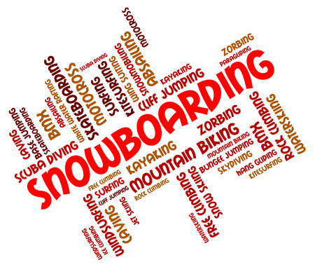 boarders: Snowboarding Word Showing Extreme Sports And Downhill
