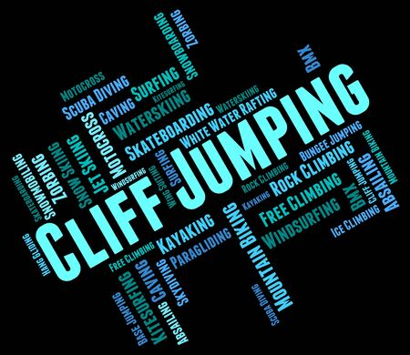 cliff jumping: Cliff Jumping Showing Extreme Jumps And Rock Stock Photo