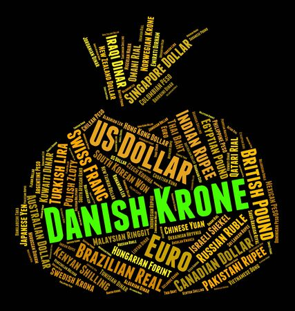 foreign exchange: Danish Krone Indicating Foreign Exchange And Text Stock Photo