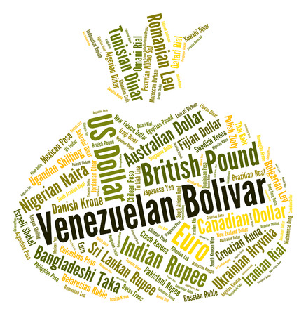 currency exchange: Venezuelan Bolivar Representing Currency Exchange And Foreign