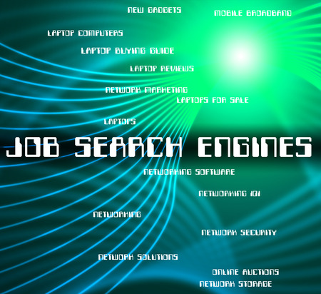 job engine: Job Search Engine Indicating Gathering Data And Words Stock Photo
