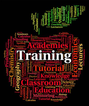 word lesson: Training Word Meaning Education Lesson And Learning Stock Photo