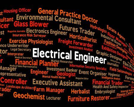 ingenieria elÉctrica: Ingeniero eléctrico Mostrando Poder Ingenieros y posición Foto de archivo