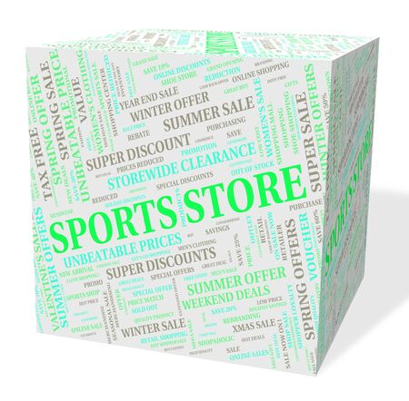 merchandiser: Sports Store Showing Physical Exercise And Shop