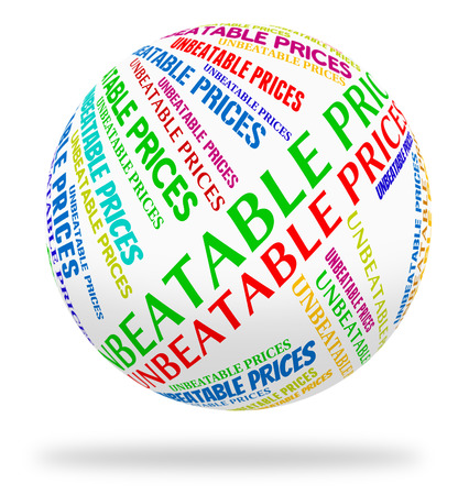 unsurpassed: Unbeatable Prices Representing Promotional Retail And Clearance Stock Photo