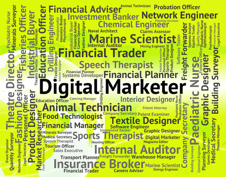 Digital Marketer Showing High Tec And Electronic Stock Photo