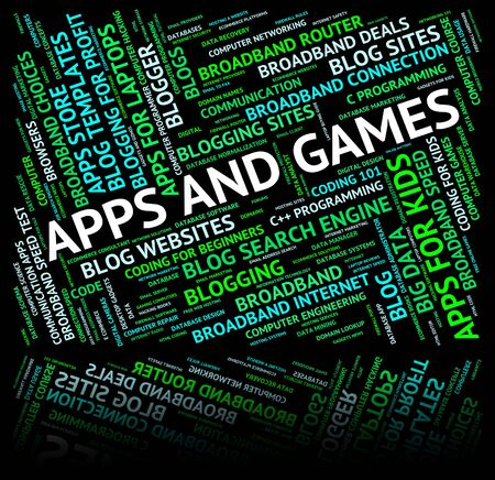 entertaining: Apps And Games Showing Application Software And Entertaining