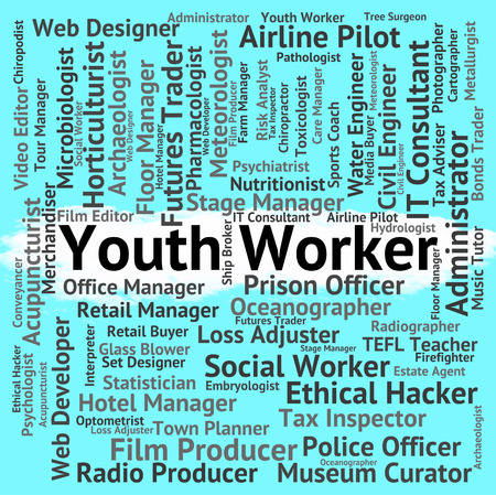 operative: Youth Worker Indicating Working Man And Hiring