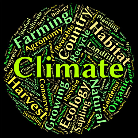clime: Climate Word Representing Weather Patterns And Meteorological Stock Photo