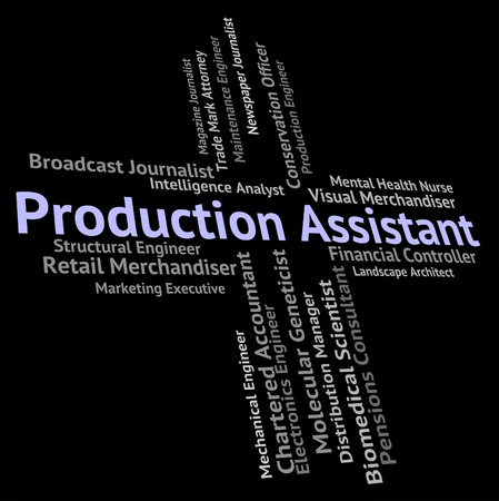 aide: Production Assistant Showing Creation Recruitment And Job Stock Photo