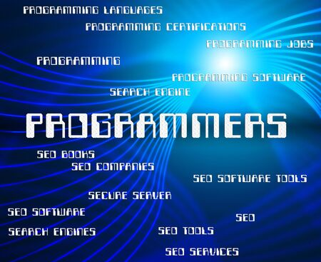 programmers: Programmers Word Showing Programming Job And Software Stock Photo