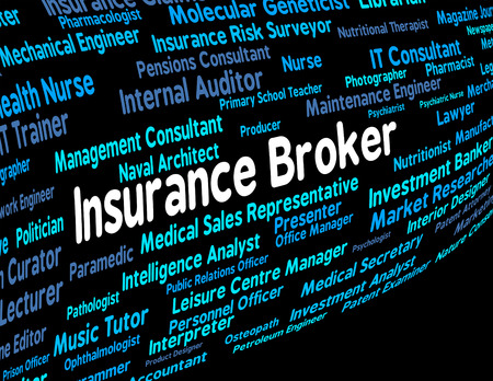 middleman: Insurance Broker Indicating Contracts Contract And Insures Stock Photo