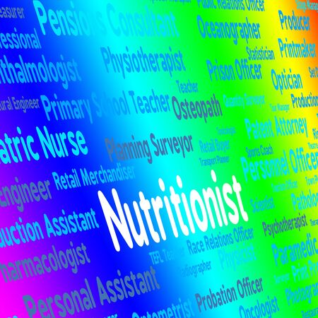 nutriment: Nutritionist Job Representing Diets Nutriment And Employment Stock Photo