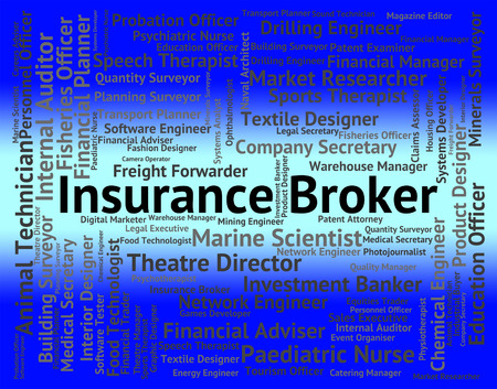 insure: Insurance Broker Showing Occupations Insure And Hiring Stock Photo