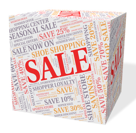 promotional offer: Sale Cube Meaning Promotional Discount And Offer