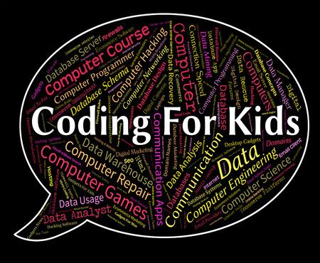 어린이 코드와 청소년을 의미 어린이를위한 코딩 스톡 콘텐츠 - 43340810