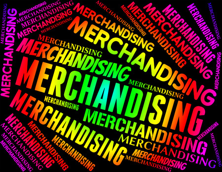 promote: Merchandising Word Meaning Distribution Market And Promote Stock Photo