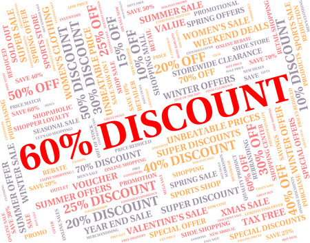 Sixty Percent Off Showing Discount Word And Clearance