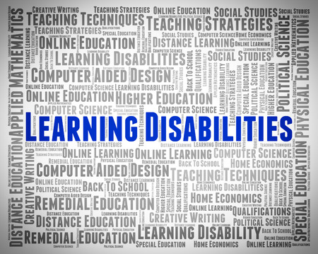disability: Learning Disabilities Words Representing Gifted Children And Train Stock Photo
