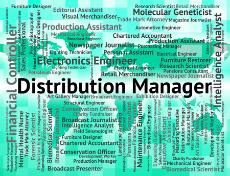overseer: Distribution Manager Showing Supplier Managing And Text Stock Photo