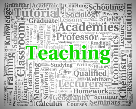 taught: Teaching Word Representing Give Lessons And Skills Stock Photo