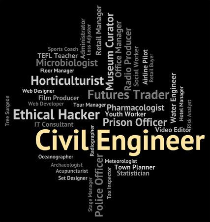 ingeniero civil: Ingeniero Civil Representando Empleos reclutamiento y contrataci�n Foto de archivo