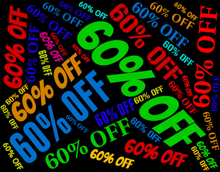 sixty: Sixty Percent Off Indicating Text Bargains And Offer