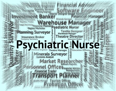 psychiatrique: Infirmi�re psychiatrique Affichage Nervous Breakdown et location Banque d'images