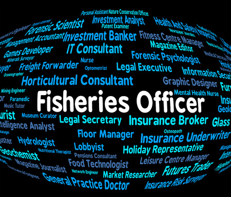 fisheries: Fisheries Officer Showing Fishing Hiring And Jobs Stock Photo