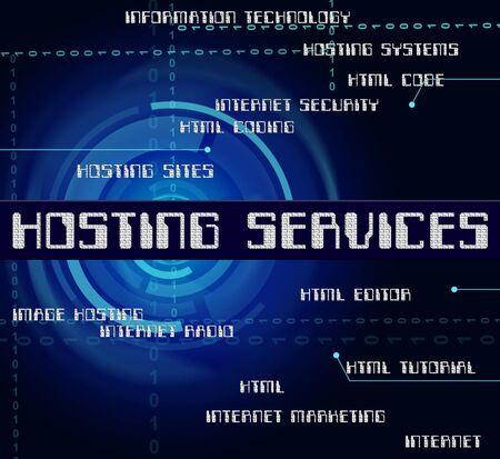 webhosting: Hosting Services Indicating Help Desk And Web Stock Photo