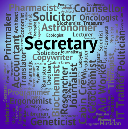 secretarial: Secretary Job Meaning Personal Assistant And Jobs Stock Photo