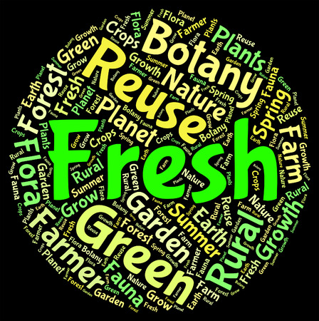 freshest: Fresh Word Meaning Words Freshen And Natural Stock Photo