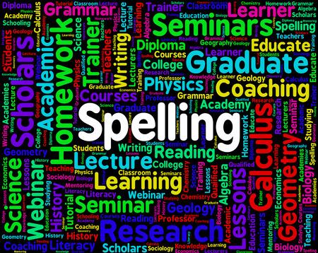penmanship: Spelling Word Indicating Write Pen And Penmanship Stock Photo
