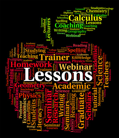 lessons: Lessons Word Indicating Classroom Classrooms And Words Stock Photo