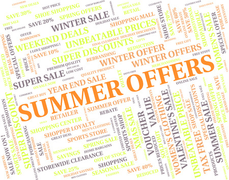the warmth: Summer Offers Showing Sale Word And Warmth Stock Photo