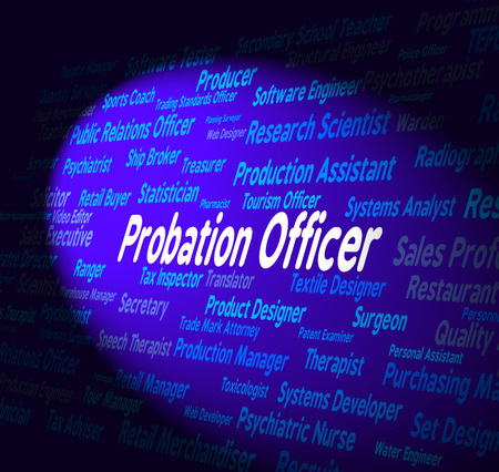 probation: Probation Officer Indicating Career Occupations And Employment Stock Photo
