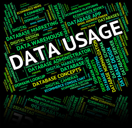usage: Data Usage Showing Use Used And Knowledge Stock Photo