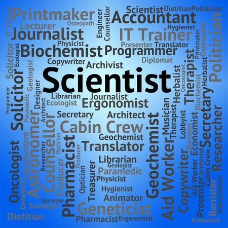 text word: Scientist Job Showing Text Word And Research Stock Photo