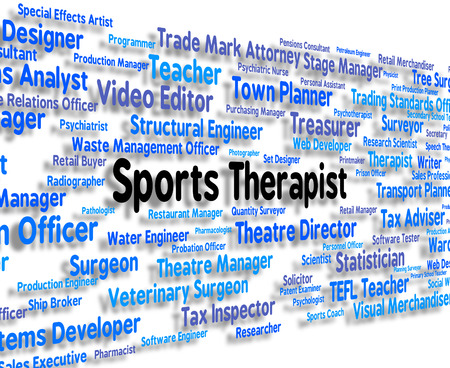 physical therapy: Sports Therapist Showing Physical Exercise And Text