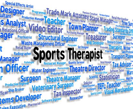 actividad fisica: Terapeuta Deportes Mostrando el ejercicio f�sico y texto Foto de archivo