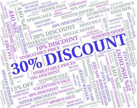 thirty percent off: Thirty Percent Off Meaning Text Bargain And Promotional Stock Photo