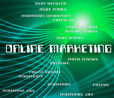 web marketing: Online Marketing Showing World Wide Web And Website Stock Photo