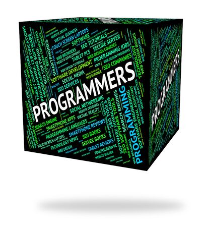 programmers: Programmers Cube Showing Programming Job And Software