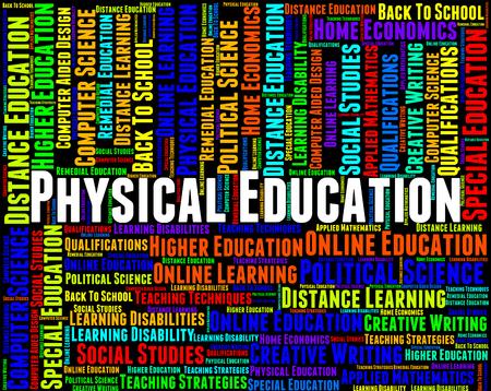educacion fisica: Educación Física Indicando texto universidad y formación Foto de archivo