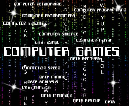 computer games: Computer Games Meaning Play Time And Technology Stock Photo