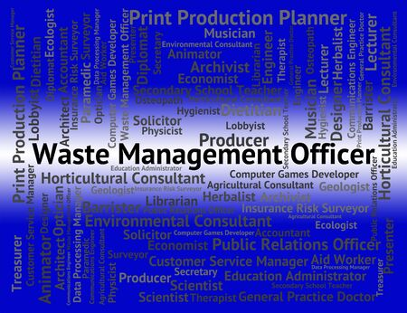 waste management: Waste Management Officer Showing Administrator Word And Jobs Stock Photo