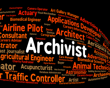 curator: Archivist Job Showing Occupations Occupation And Employment Stock Photo
