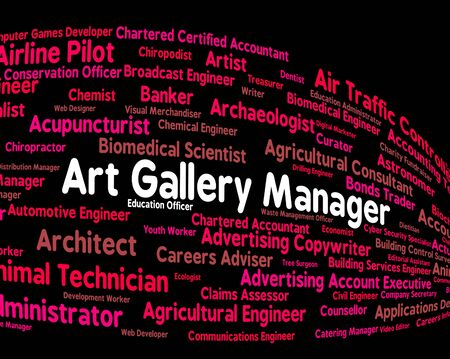 art gallery: Art Gallery Manager Meaning Exhibition Room And Position Stock Photo